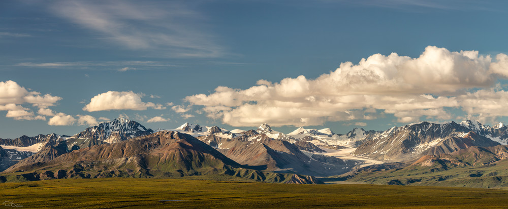 Panorama of Gulkana Glacier and Alaska Range