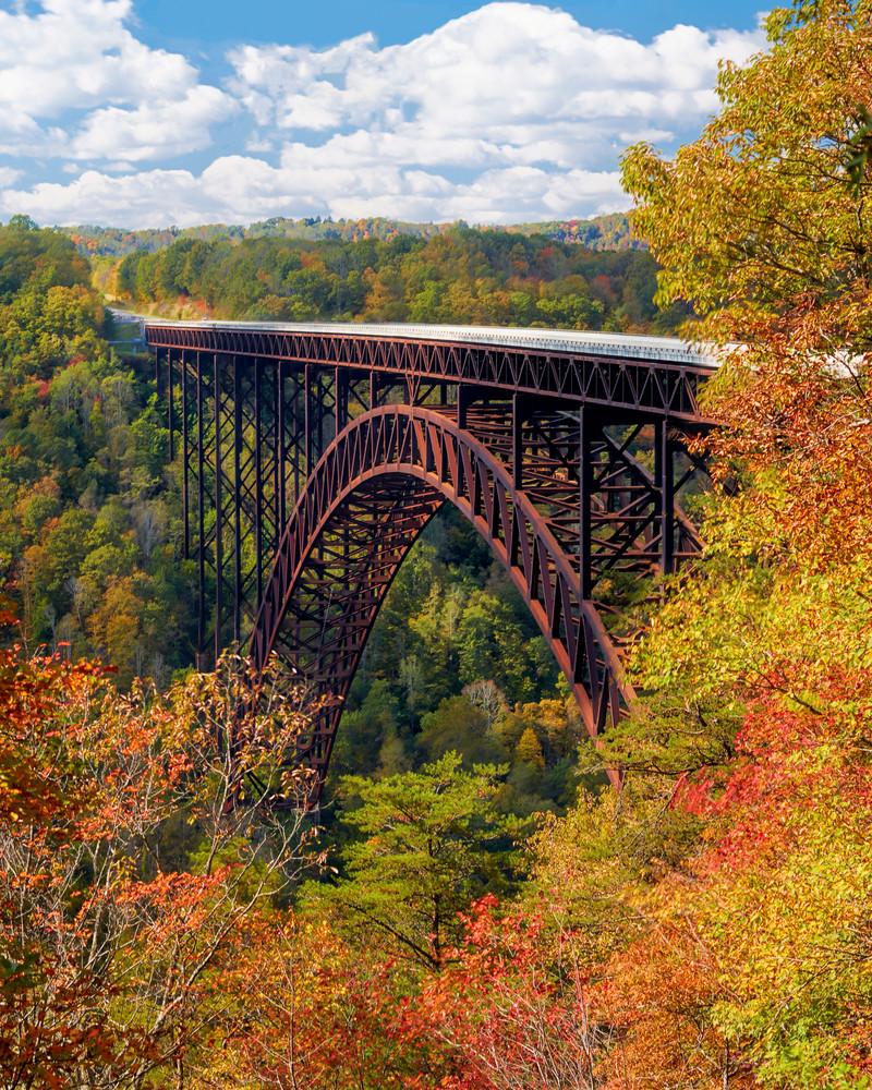 New River Bridge Autumn Reflections