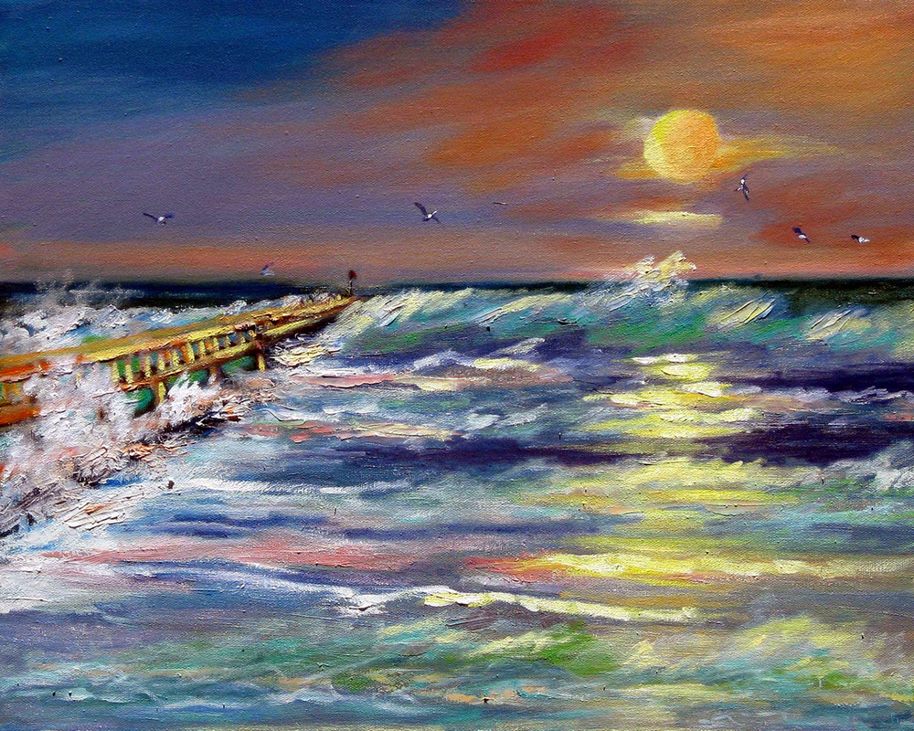 Sebastion Inlet Pier, From an Original Oil Painting