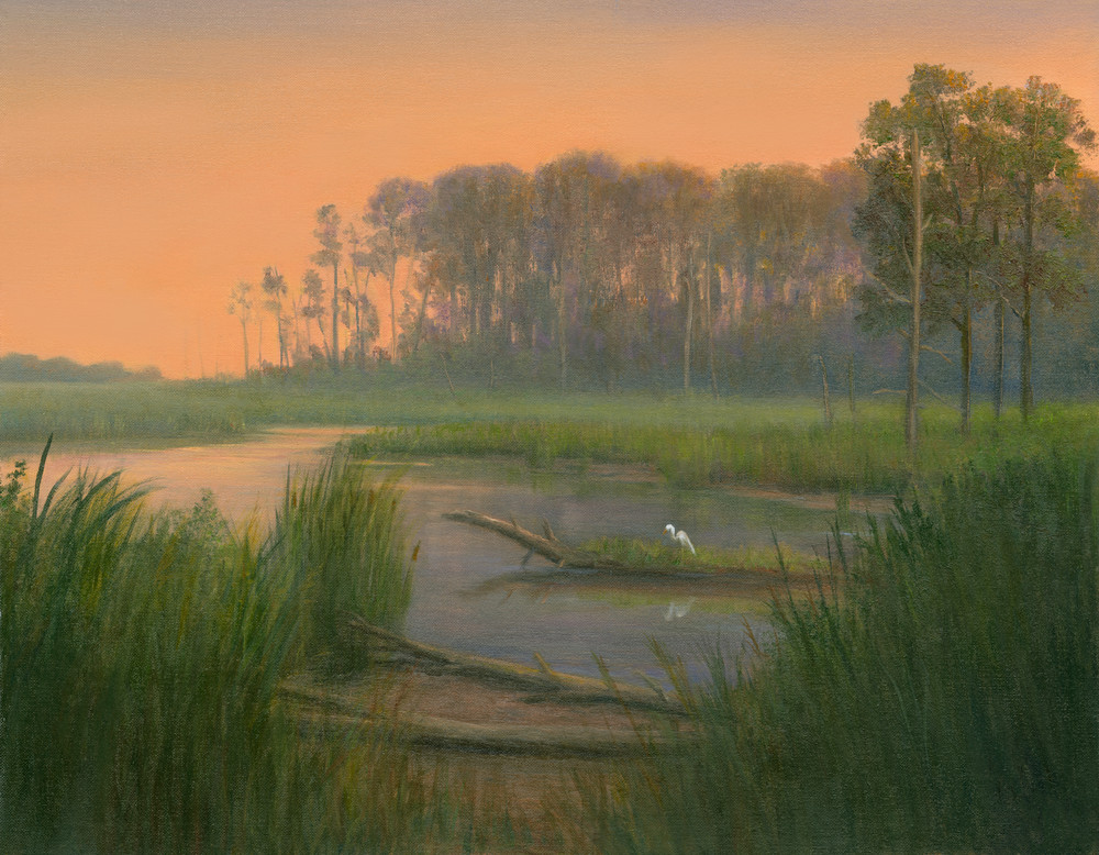 *Blackwater Preserve With Egret* Art | Tarryl Fine Art