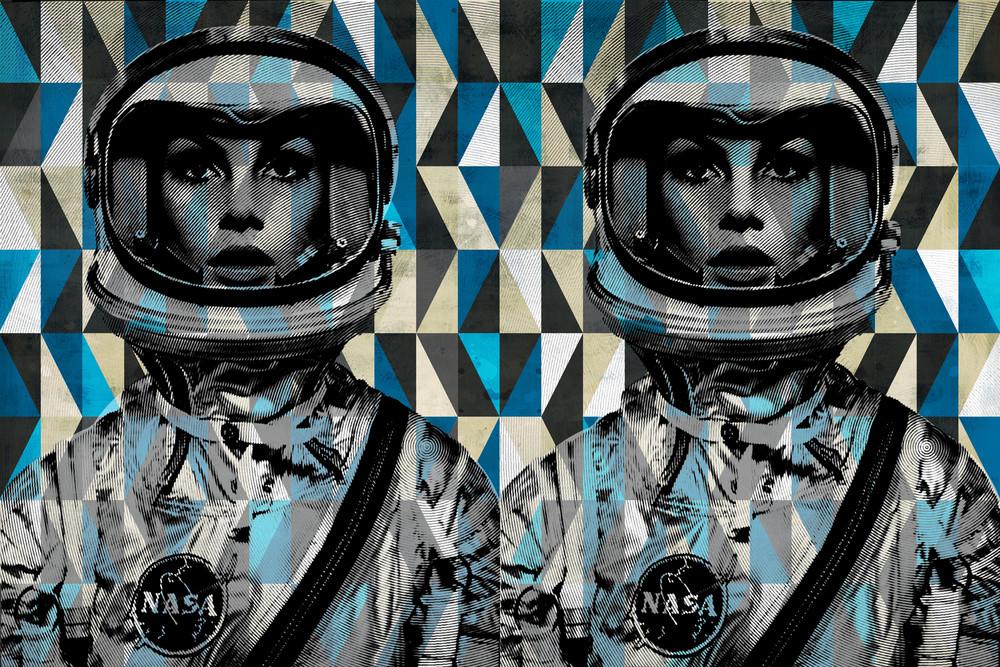 jean shrimpton art, pop art prints, canvas pop art, astronaut art, space age art,