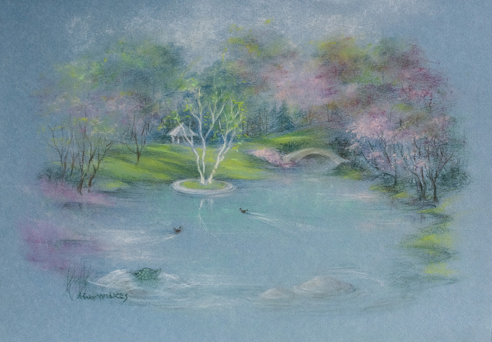 The Pond At Willow Tree, Pastel, 2020 Art | Roost Studios, Inc.