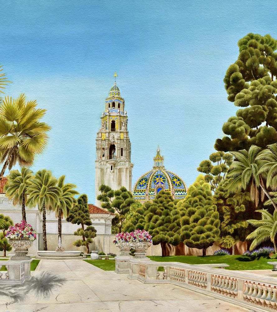 Balboa Park~ Centennial Tribute  The California Tower And Dome   Prints Art   Mercedes Fine Art