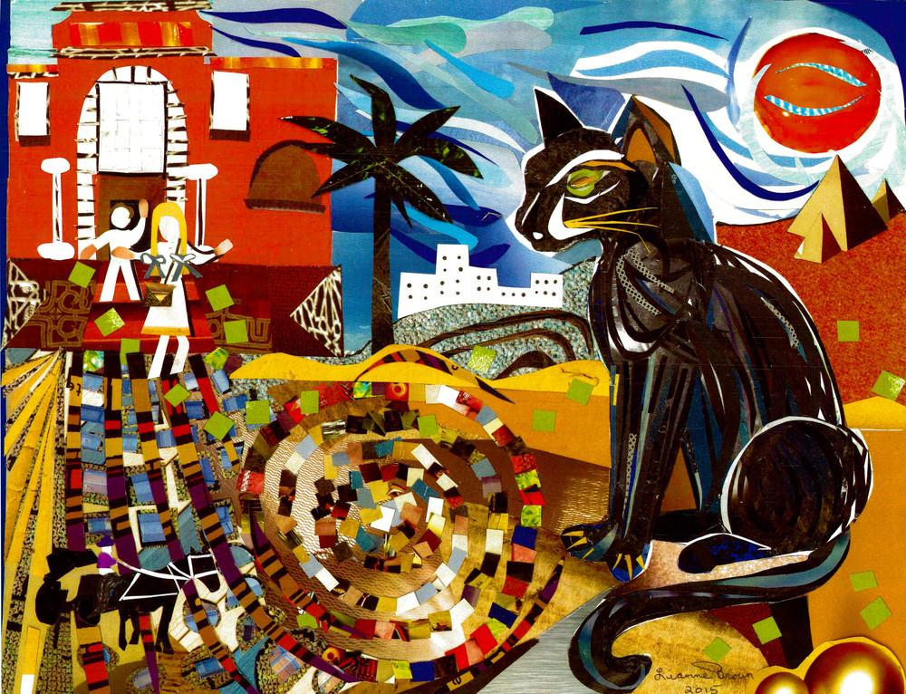 Collage of cat outside Cairo villa