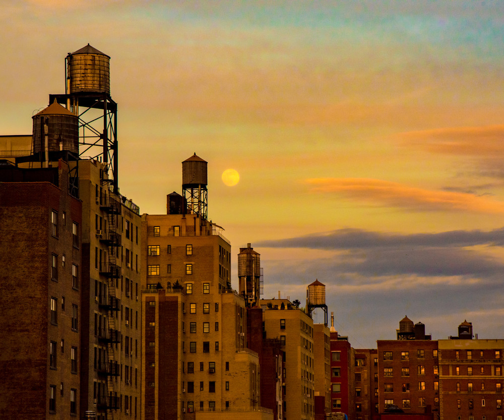 Moonrise Over Water Towers, Nyc Photography Art | Ben Asen Photography