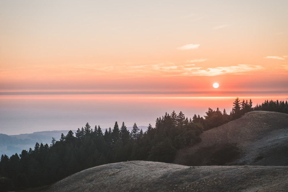 Smoke on the Water - A post forest fire sunset on the California coast photograph print