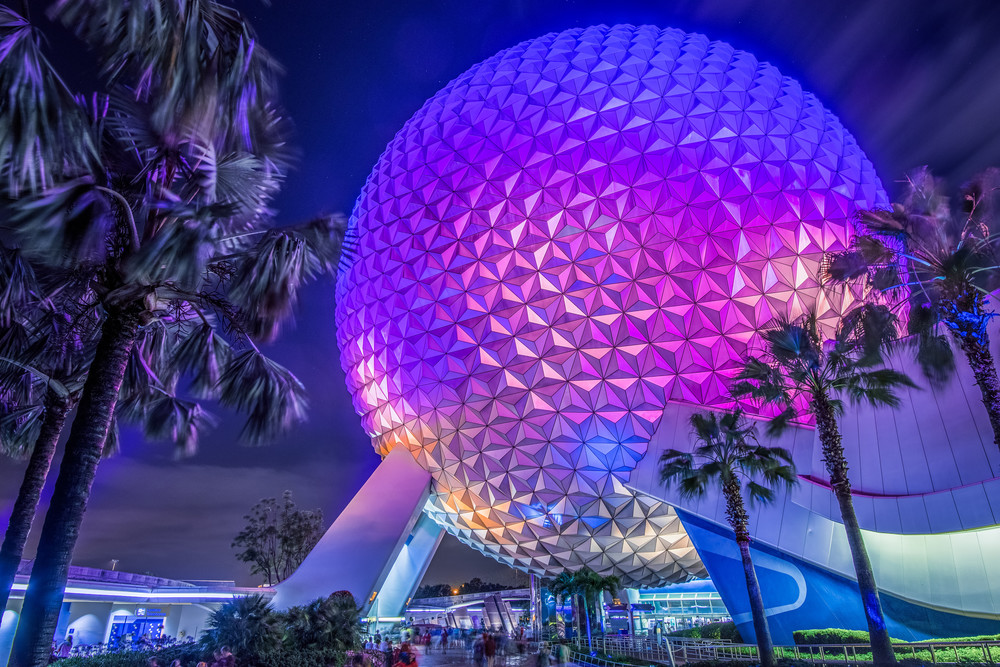 Spaceship Earth at Night 1 - Disney Canvas | William Drew