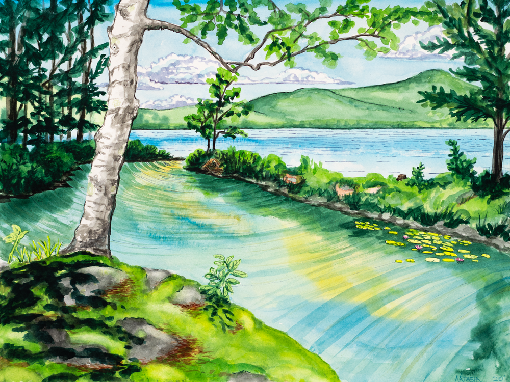 The lagoon at Clearwater Lake, Maine Art for Sale