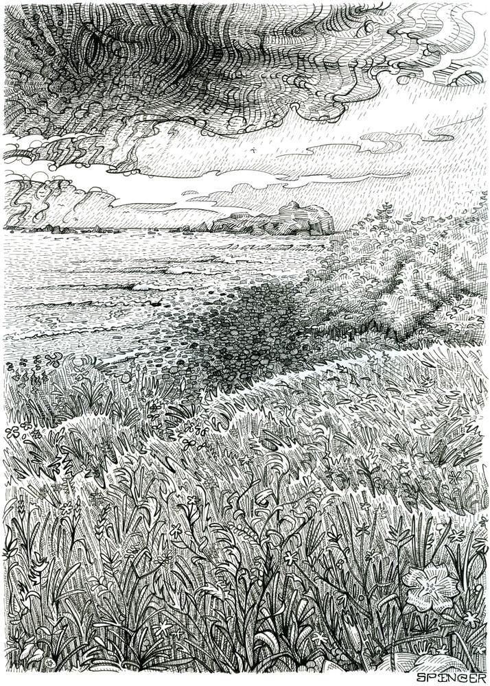 Axis Mundi, Original Pen and Ink Illustration by Spencer Reynolds