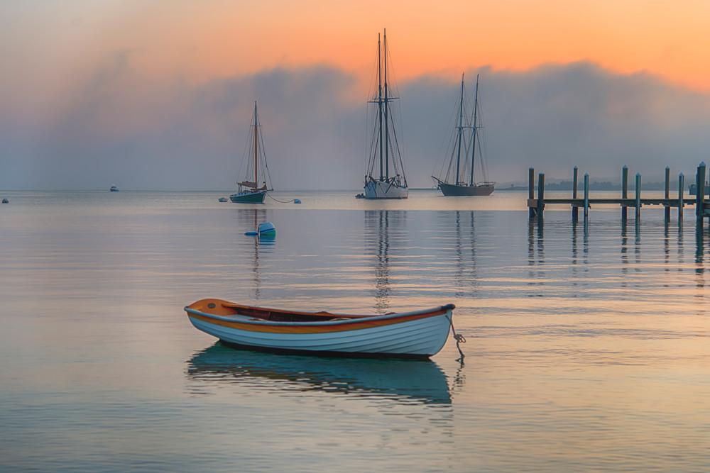 Vineyard Haven Harbor Dory Summer Fog Art | Michael Blanchard Inspirational Photography - Crossroads Gallery