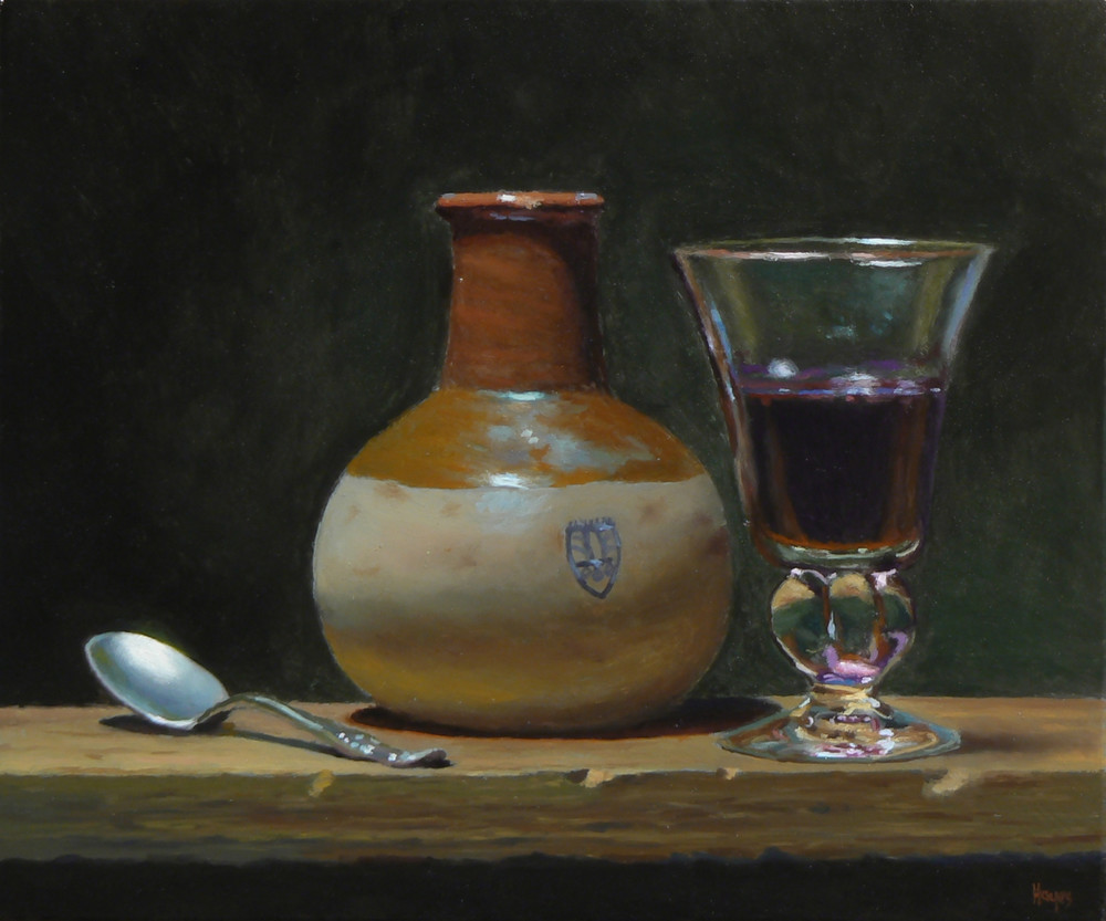 Spoon, Earthenware Jar, And Wineglass Art | Jeff Hayes Fine Arts