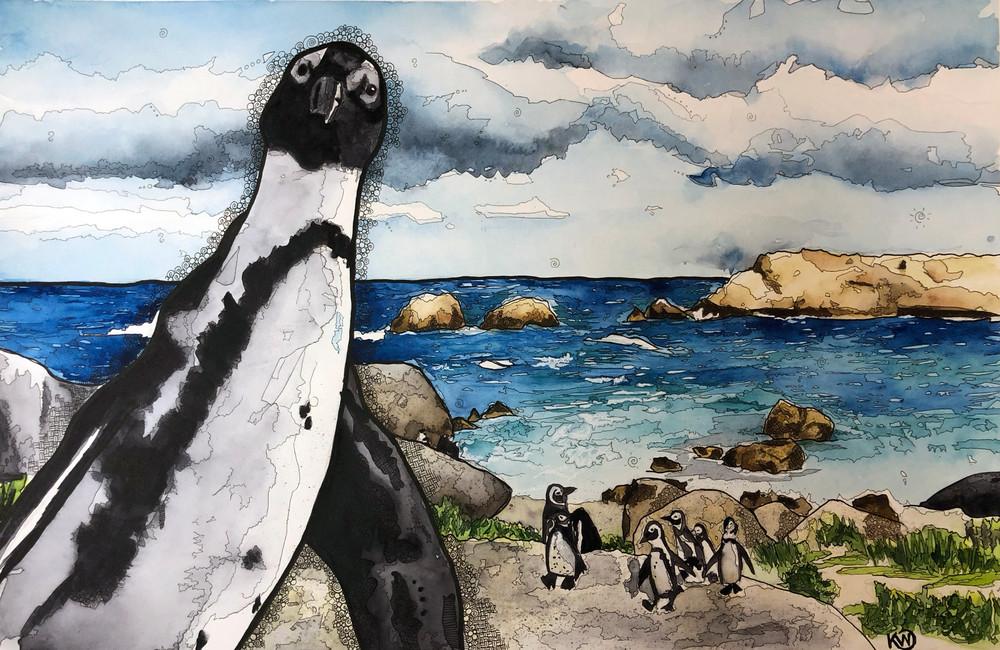 African Penguin Art | Water+Ink Studios