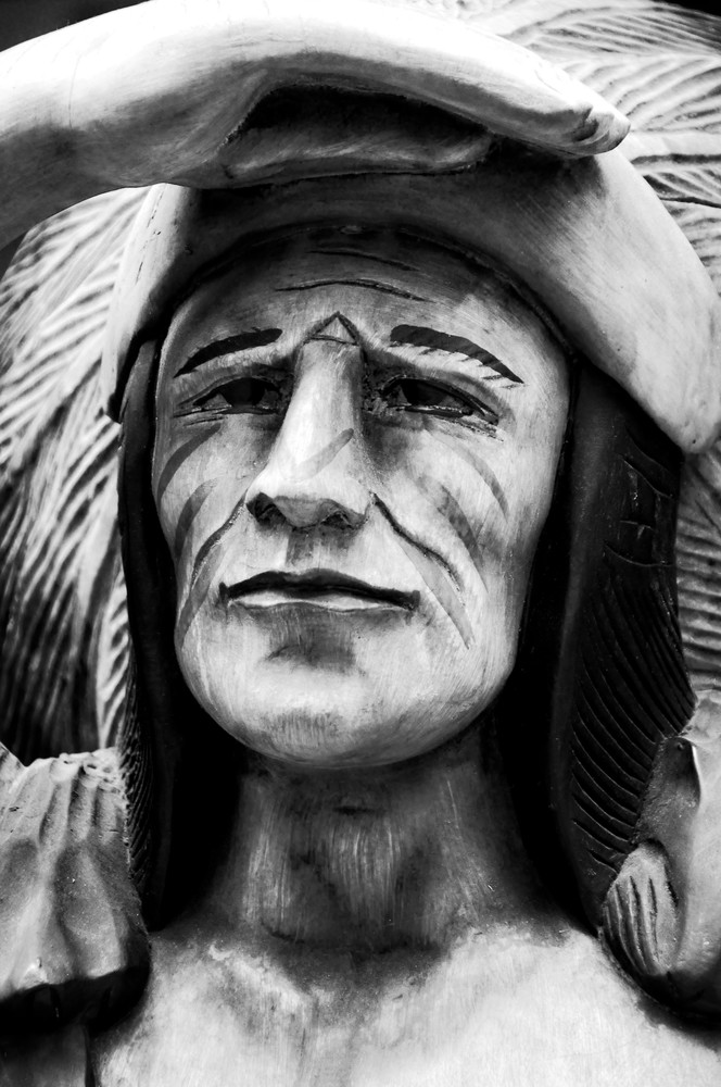 Wooden Carving of Native American in Black and White