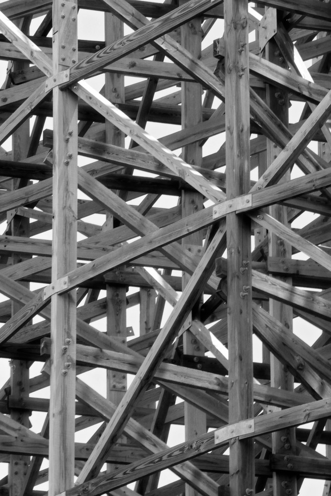 Wooden Roller Coaster Framing in Black and White