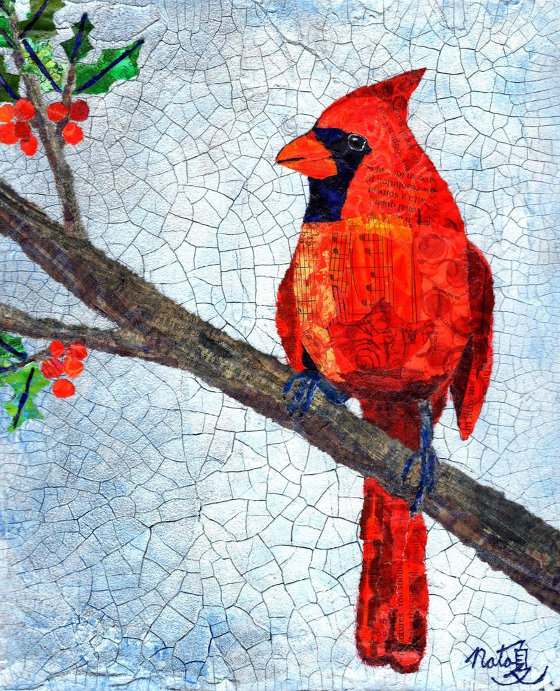 Winter Cardinal Art | Poppyfish Studio