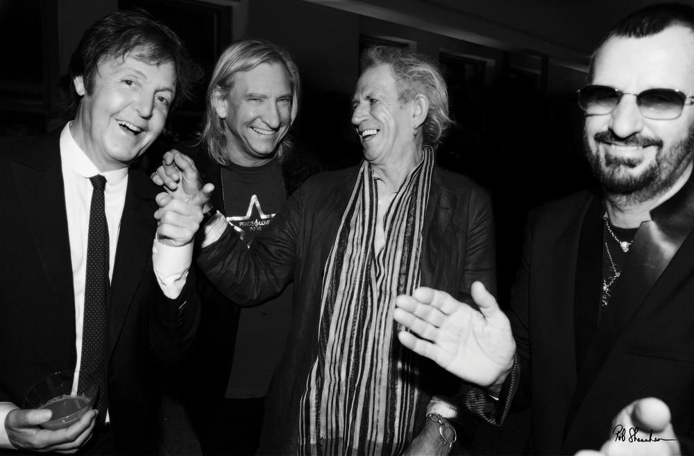 Paul McCartney, Joe Walsh, Keith Richards, Ringo Starr, photographed by Rob Shanahan at Ringo's 70th birthday celebration.