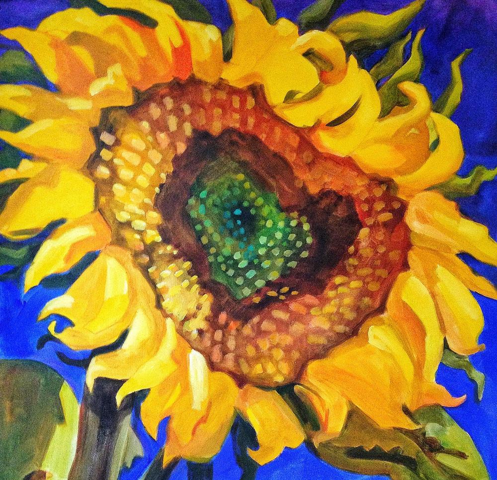 Hidden Heart Sunflower Art   susie mccolgan art