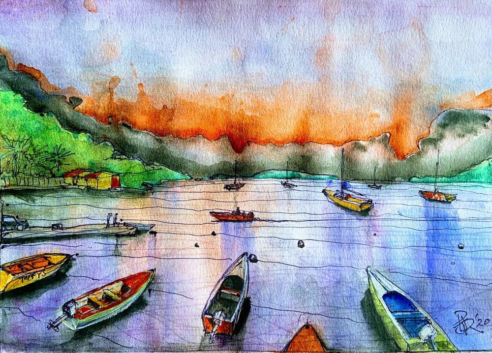 Carribean Bay Scene ( Woburn Grenada From Taffys) Art | pjriley