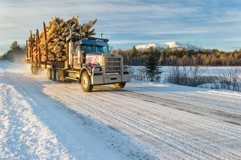 Logging Truck Mt Katahdin Winter