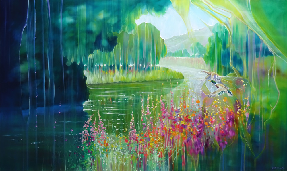 print on canvas or paper of two ducks flying over a summer riverbank with flowers and meadows and hills beyond.