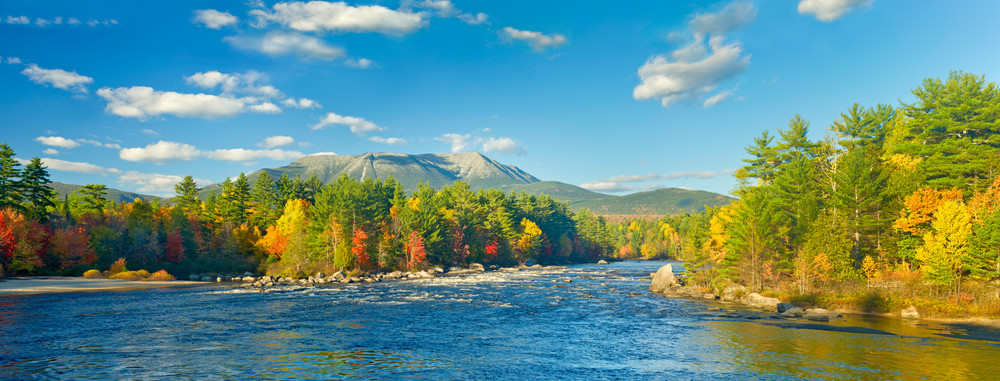 Katahdin from Abol Falls in Autumn