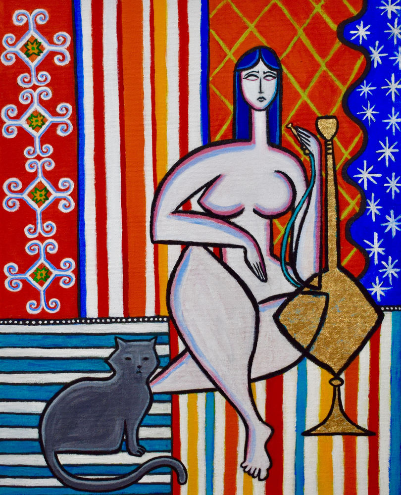Odalisque with Hookah and Cat Painting by Artist Paul Zepeda Available as a Fine Art Print on Canvas, Paper, Metal and More. Wet Paint NYC Art Gallery