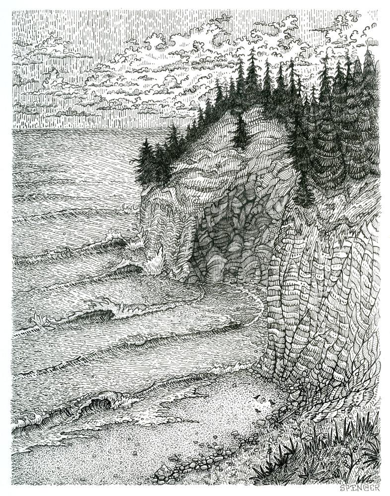 3+6+0 Original Pen and Ink Illustration by artist Spencer Reynolds
