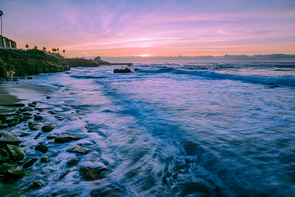 La Jolla Cove Sunset in California with Blue Ocean Wall Art Print by McClean Photography