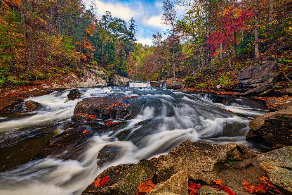 Autumn below Baby Falls - Smoky Mountains fine-art photography prints