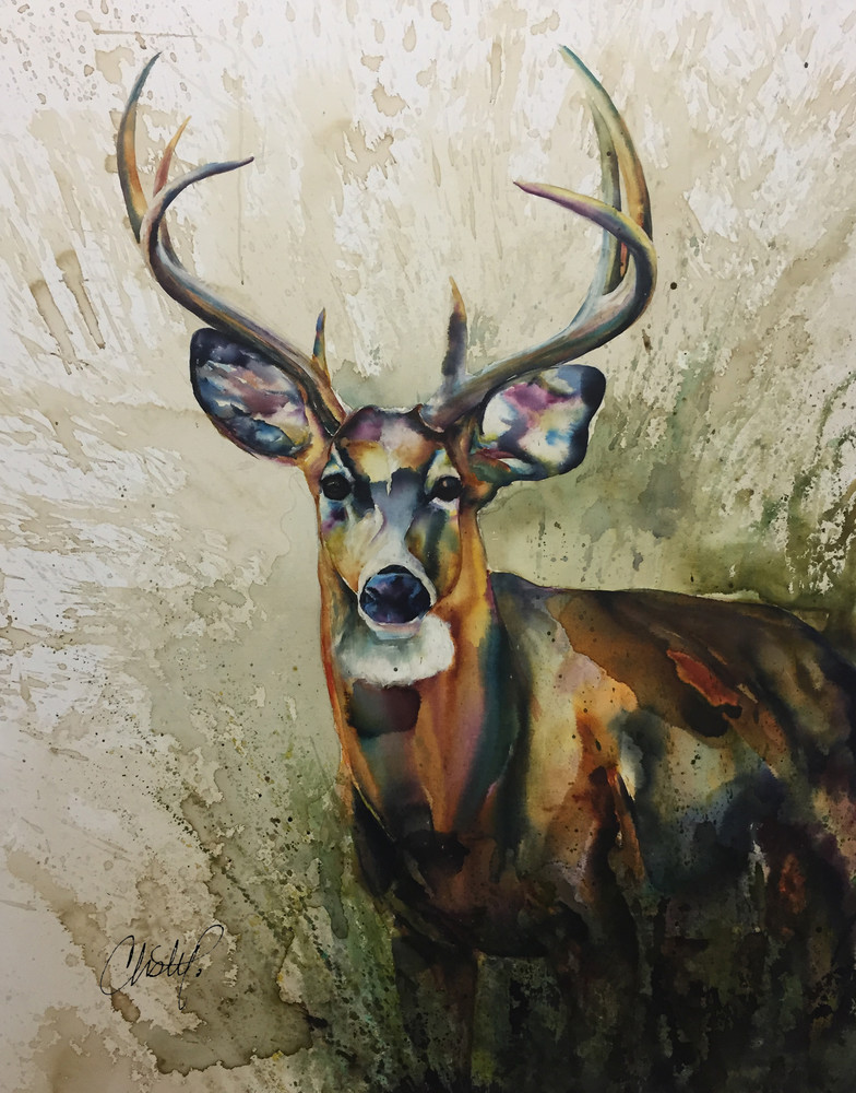 White Tailed Deer Watercolor  - Stag in Prairie
