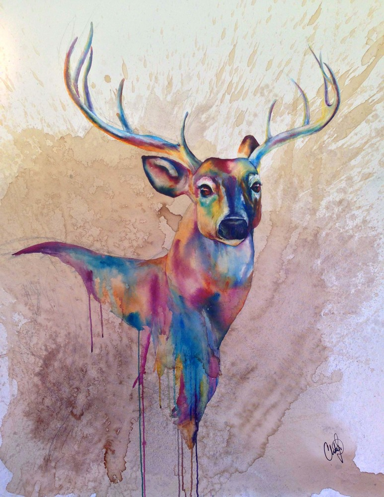 Stag Watercolor Drip Art | Christy! Studios