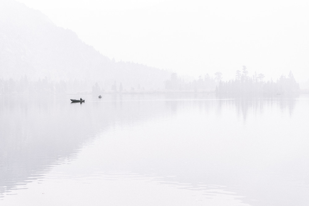 Silver Lake - Sunrise through a smokey haze in the Eastern Sierras, California photograph print