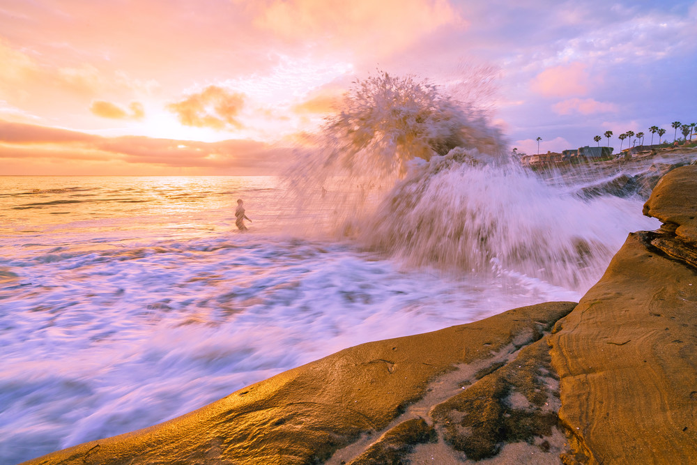 Windansea Beach, San Diego Surfer and Wave Wall Art Print by McClean Photography