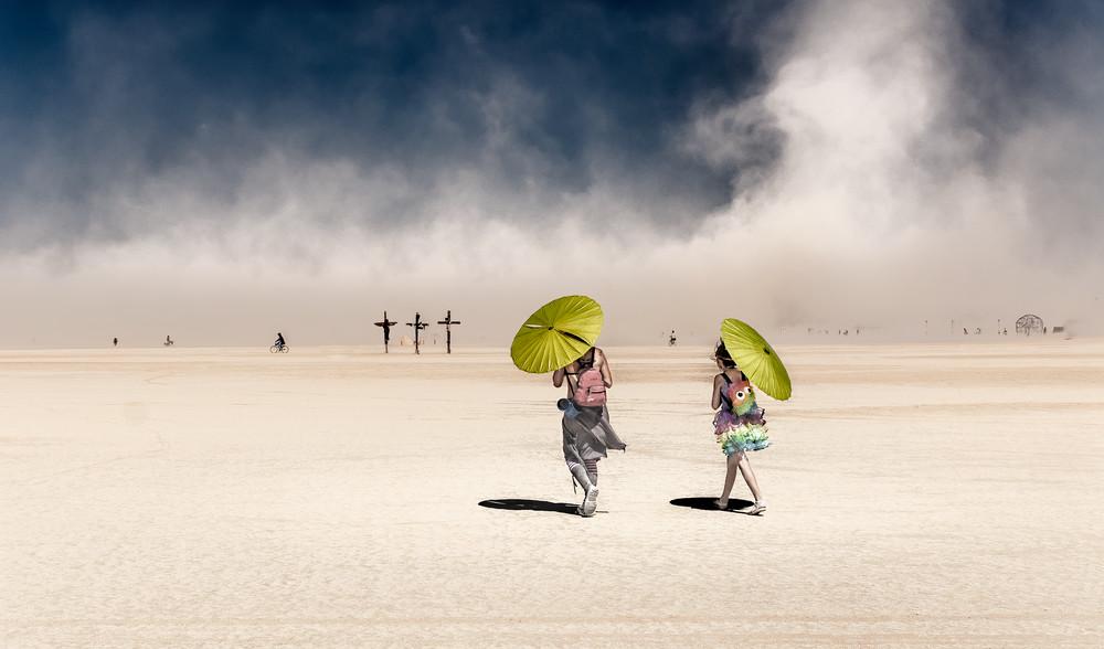 Burners stroll Burning Man's Playa