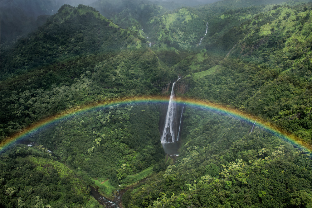 Manawaiopuna Falls Rainbow Photography Art | Ed Sancious - Stillness In Change