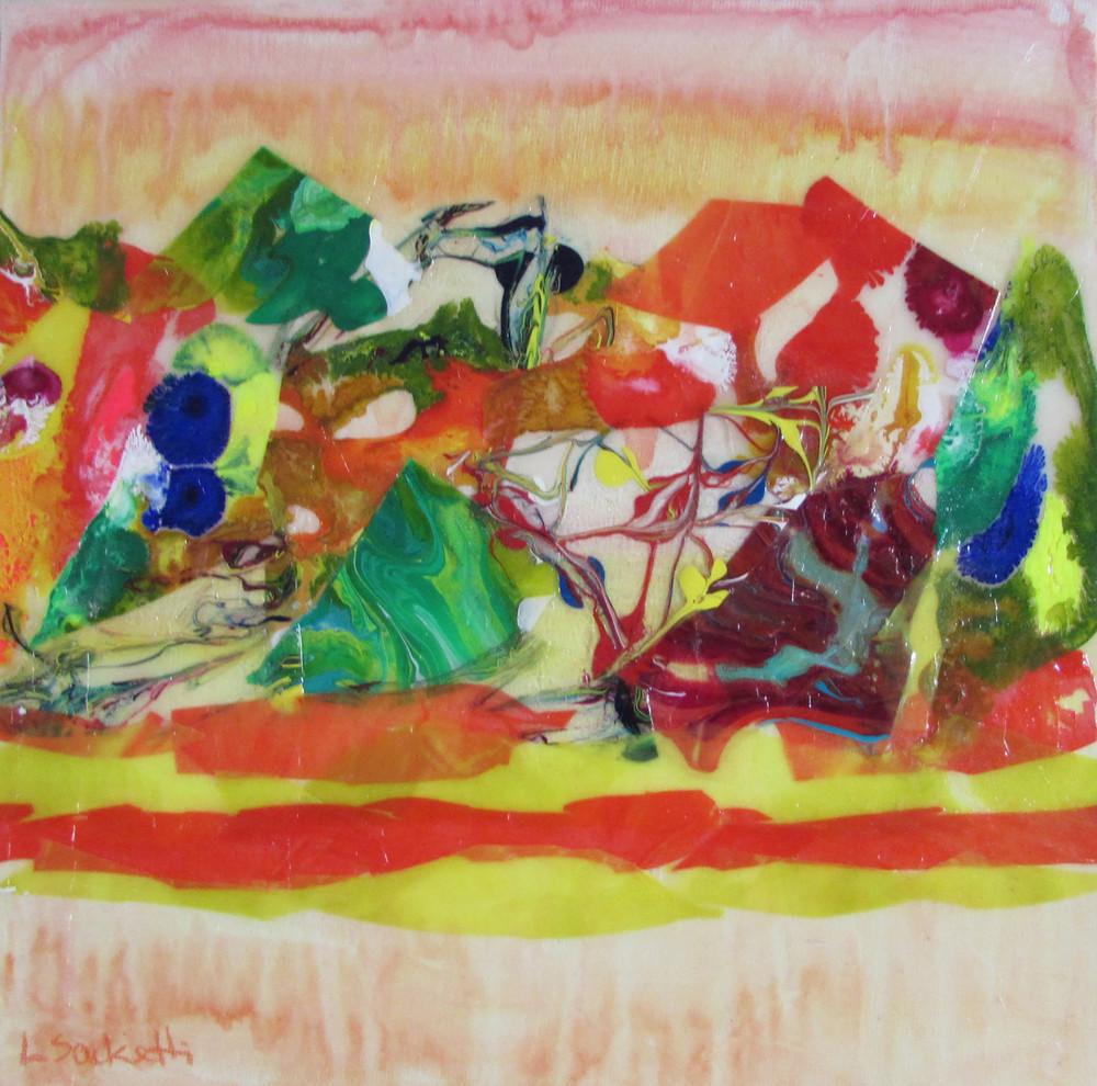 Abstract In Yellow With Orange 2 Art   Linda Sacketti
