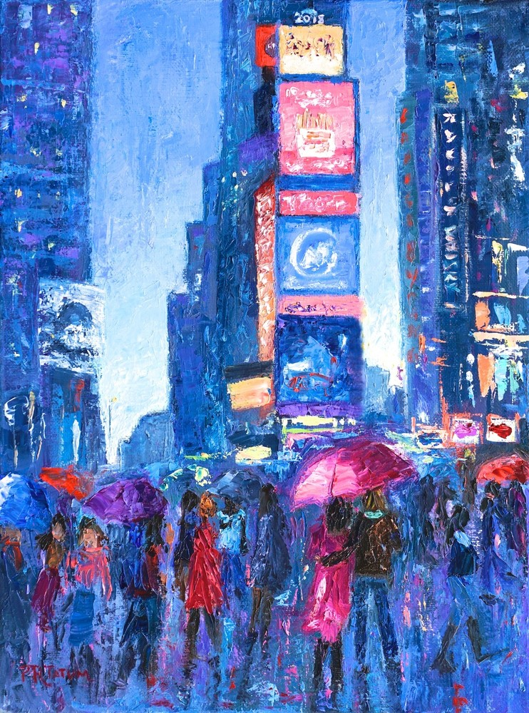 Lovers Walk In Times Square Rain Ii 288 Copy Art | Pamela Ramey Tatum Fine Art