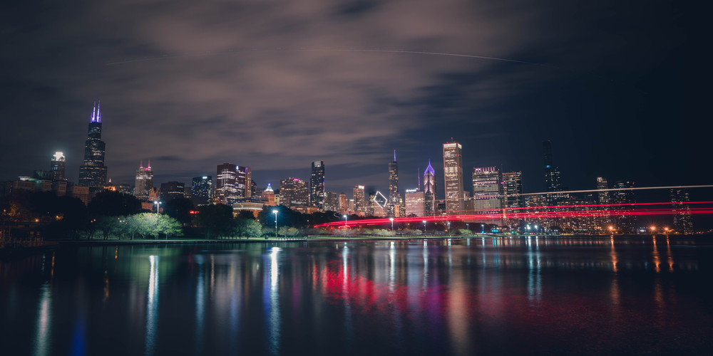 Chicago Fireboat Lights Photography Art | William Drew Photography
