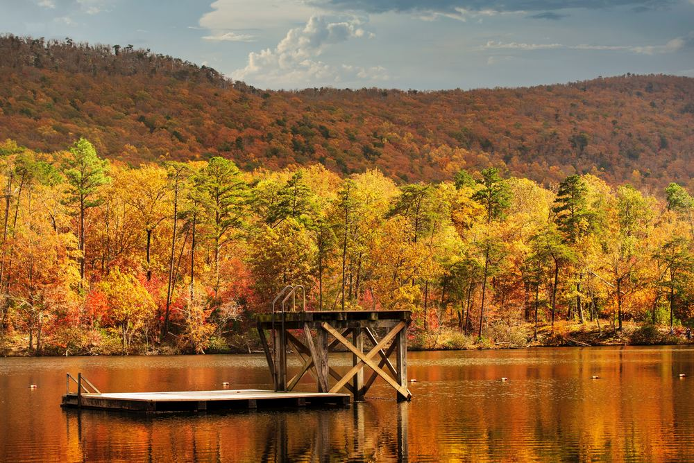 Docks at Lake Cheaha in the fall