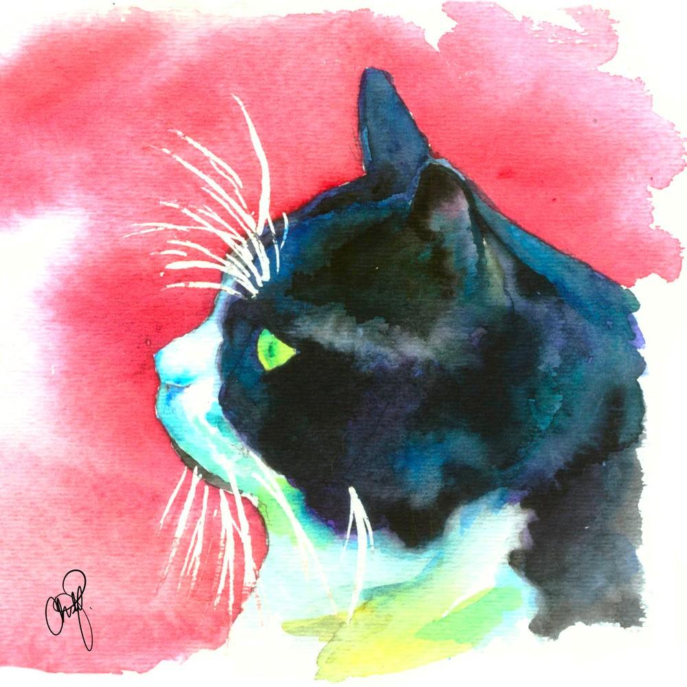 Black and White Tuxedo Cat Watercolor Art