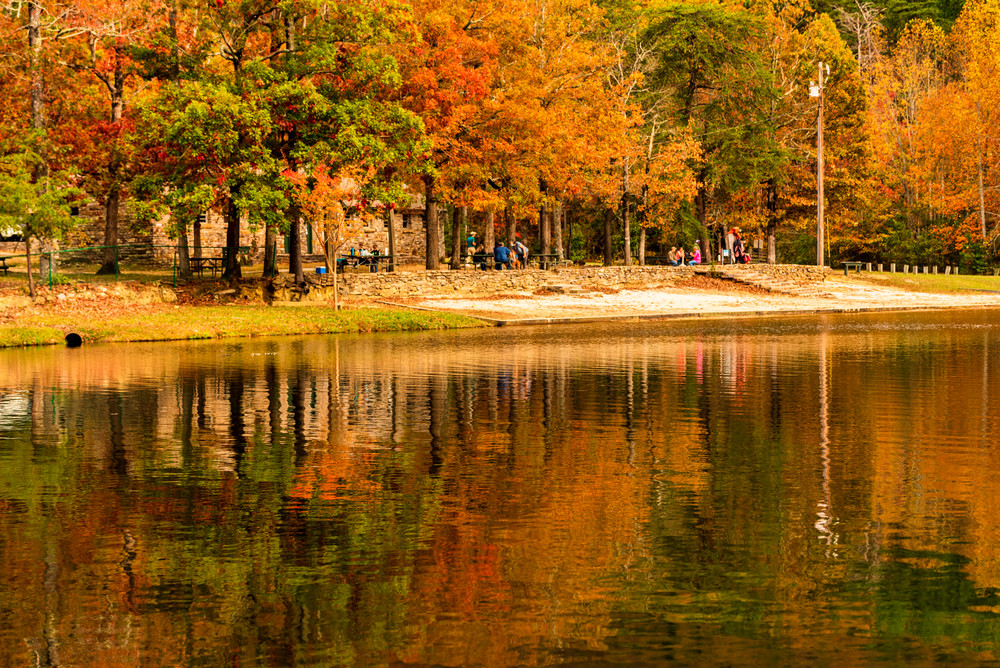 Lakeside of Cheaha Lake during fall.