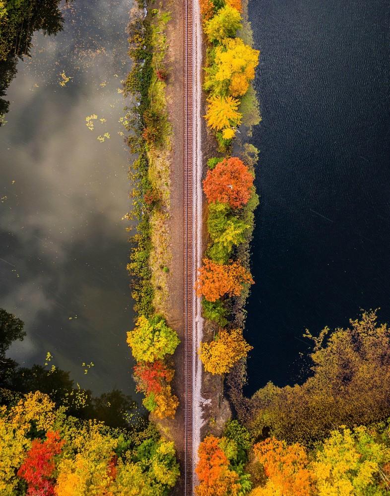 A railway runs through a lake of clouds in Marquette, Michigan