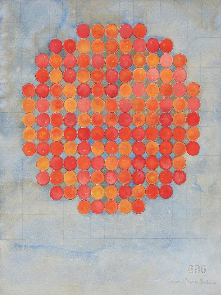 Circle Circle, Orange On Gray Art   Courtney Miller Bellairs Artist