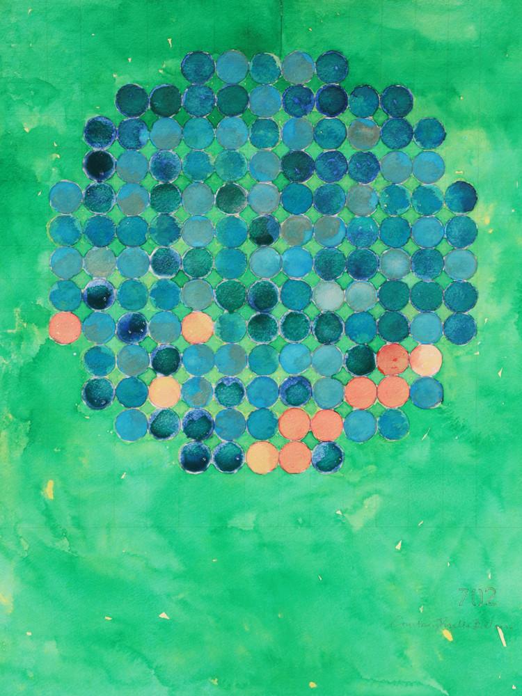 Circle Circle, Goldfish Pond On Green Art   Courtney Miller Bellairs Artist
