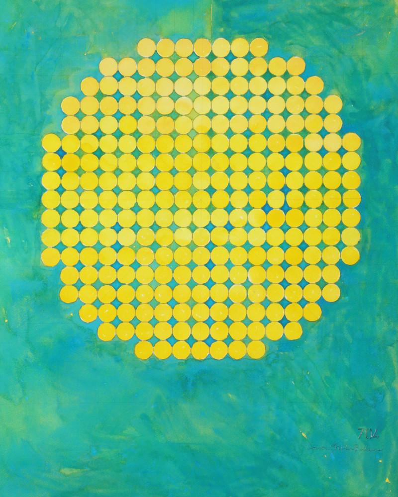 Circle Circle, Yellow On Turquoise Art   Courtney Miller Bellairs Artist