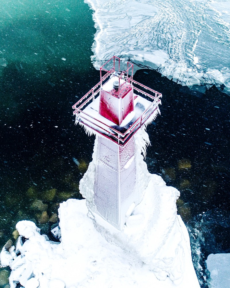 Ice Castle lighthouse in Muskegon, Michigan