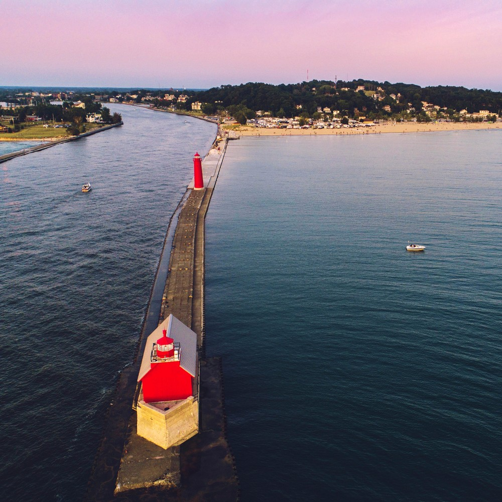 Grand Haven Pier and Lighthouse in Michigan at Dusk