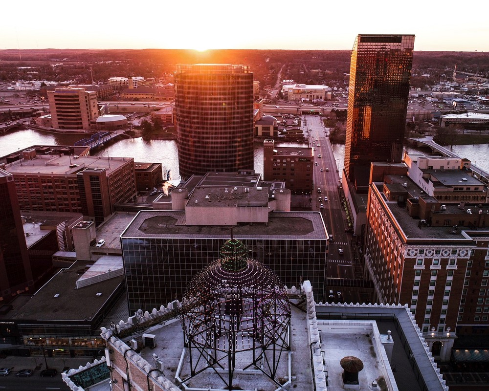 When The Lights Go Down In The City Art | Aerial Print Shop