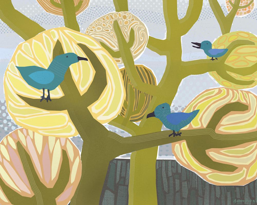 Three Blue Birds