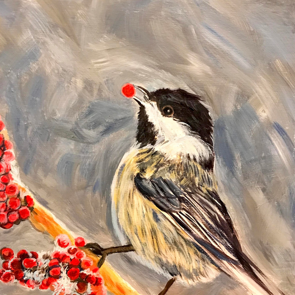 Chickadee with Berries Alaska Art Print by Amanda Faith Thompson